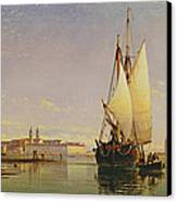 The Euganean Hills And The Laguna Of Venice - Trabaccola Waiting For The Tide Sunset Canvas Print by Edward William Cooke