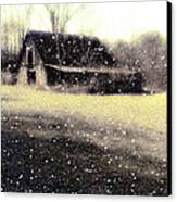 The First Snow Fall On The Old Barn Canvas Print by Lisa  Griffin