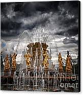 The Friendship Fountain Moscow Canvas Print by Stelios Kleanthous