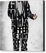 The Godfather Inspired Don Vito Corleone Typography Artwork Canvas Print by Ayse Deniz