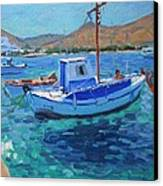 The Harbor  Tinos Canvas Print by Andrew Macara