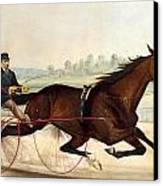 The King Of The Turf Canvas Print by Currier And Ives