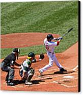 The Laser Show Dustin Pedroia Canvas Print by Tom Prendergast