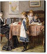 The Lesson Canvas Print by  George Goodwin Kilburne