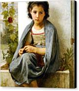 The Little Knitter Canvas Print by William Bouguereau