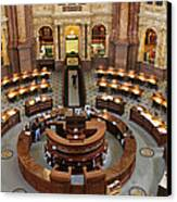 The Main Reading Room Of The Library Of Congress Canvas Print by Allen Beatty