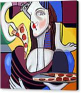 The Mona Pizza Canvas Print by Anthony Falbo