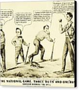The National Game - Abraham Lincoln Plays Baseball Canvas Print by Digital Reproductions