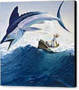 The Old Man And The Sea Canvas Print by Harry G Seabright