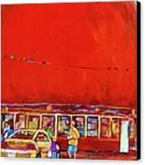 The Orange Julep Montreal Summer City Scene Canvas Print by Carole Spandau