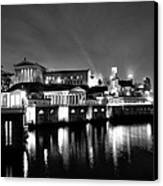 The Philadelphia Waterworks In Black And White Canvas Print by Bill Cannon