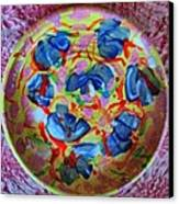 The Pink And Blue Plate Canvas Print by Martha Nelson