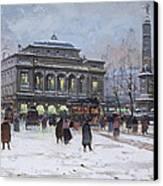 The Place Du Chatelet Paris Canvas Print by Eugene Galien-Laloue