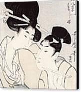 The Pleasure Of Conversation Canvas Print by Kitagawa Utamaro