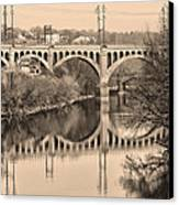 The Schuylkill River And Manayunk Bridge In Sepia Canvas Print by Bill Cannon
