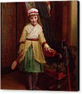 The Shuttlecock Player, 1874 Canvas Print by L. Davis