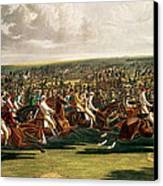 The Start Of The Memorable Derby Of 1844 Canvas Print by Charles Hunt