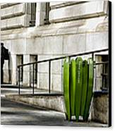 The Story Of Him Waiting And A Green Trashcan Canvas Print by Joanna Madloch