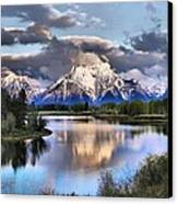 The Tetons From Oxbow Bend Canvas Print by Dan Sproul