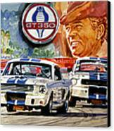 The Thundering Blue Stripe Gt-350 Canvas Print by David Lloyd Glover