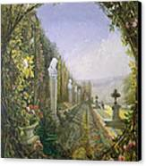 The Trellis Window Trengtham Hall Gardens Canvas Print by E Adveno Brooke