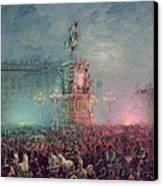 The Unveiling Of The Nicholas I Memorial In St. Petersburg Canvas Print by Vasili Semenovich Sadovnikov
