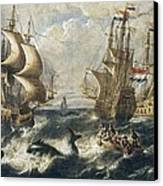 The Whale Fishing. Oil On Canvas Canvas Print by Everett