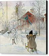 The Yard And Wash House Canvas Print by Carl Larsson