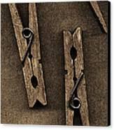 Three Clothes Pins Canvas Print by Bob RL Evans