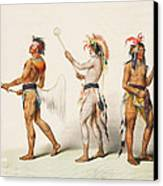 Three Indians Playing Lacrosse Canvas Print by Unknown
