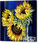 Three Sunny Flowers Canvas Print by Irina Sztukowski
