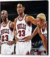 Threepeat - Chicago Bulls - Michael Jordan Scottie Pippen Dennis Rodman Canvas Print by Prashant Shah