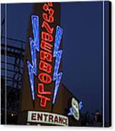 Thunderbolt Rollercoaster Neon Sign Canvas Print by Edward Fielding