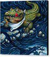 Tick-tock Crocodile Canvas Print by Isabella Kung