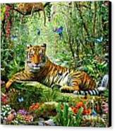 Tiger In The Jungle Canvas Print by Adrian Chesterman