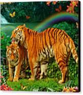 Tiger Love Tropical Canvas Print by Alixandra Mullins