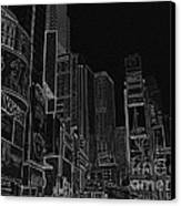 Times Square Nyc White On Black Canvas Print by Meandering Photography
