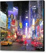 Times Square Street Level Canvas Print by Bud Anderson