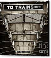 To Trains Canvas Print by John Rizzuto