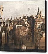 Town With A Broken Bridge Canvas Print by Victor Hugo