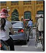 Traffic In Downtown Hanoi Canvas Print by Sami Sarkis