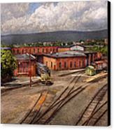 Train - Entering The Train Yard Canvas Print by Mike Savad