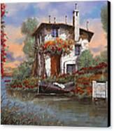 Tramonto Con Bougainvillea Canvas Print by Guido Borelli
