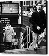 Travellers Exiting And Entering 34th Street Entrance To Penn Station Subway New York City Canvas Print by Joe Fox