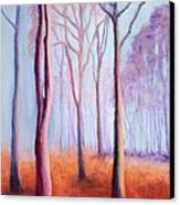 Trees In The Mist Canvas Print by Marion Derrett