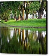 Trees Reflection On The Lake Canvas Print by Heiko Koehrer-Wagner