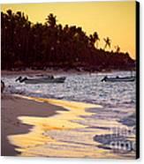 Tropical Beach At Sunset Canvas Print by Elena Elisseeva