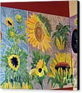 Tryptich Corner Sunflowers Canvas Print by Vicky Tarcau