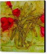Tulips In A Glass Vase Canvas Print by Patricia Awapara
