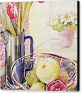 Tulips With Fruit In A Glass Bowl  Canvas Print by Joan Thewsey